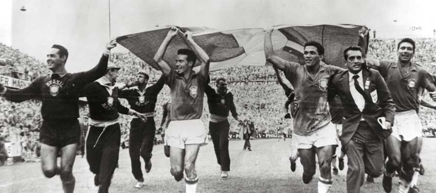 Brazil Team Celebrating 1958 WC Victory