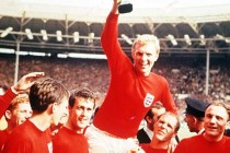 England Team lifting WC Trophy 1966