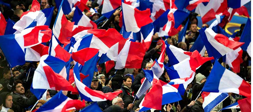 Fans waving French Flags