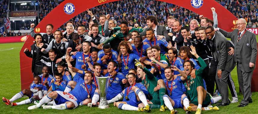 Chelsea celebrate Europa League 2013