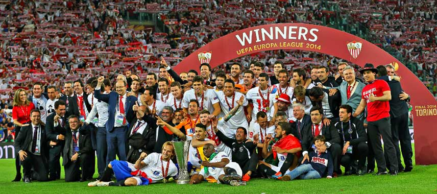 Sevilla celebrate winning Europa League 2014