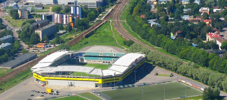 Aerial view of A-Le Coq Arena