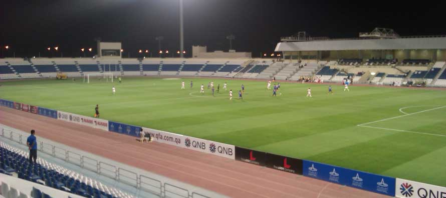 Al-Kor Stadium pitch at night