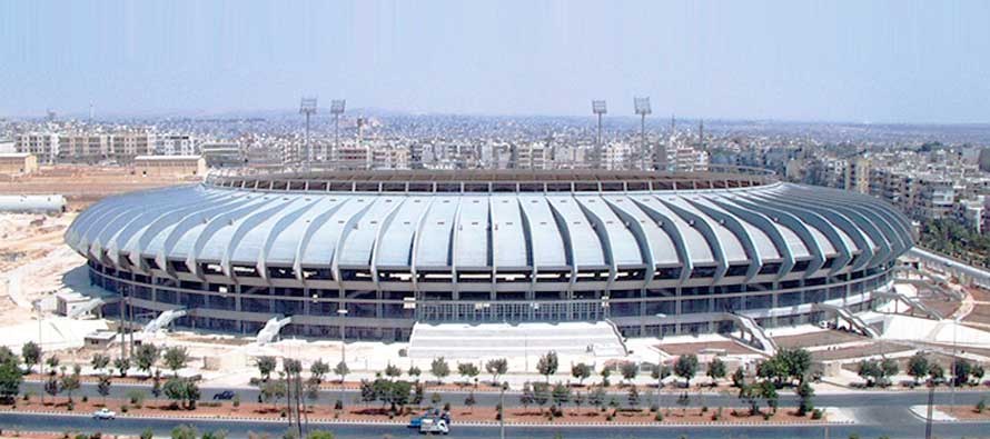 Aerial view of Aleppo Int. Stadium