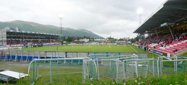 Outside look of Alfheim Stadium's pitch
