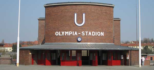 Exterior of Berlin's Olimpic Stadium station