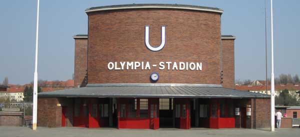 Exterior of Berlin's Olimpic Stadium station
