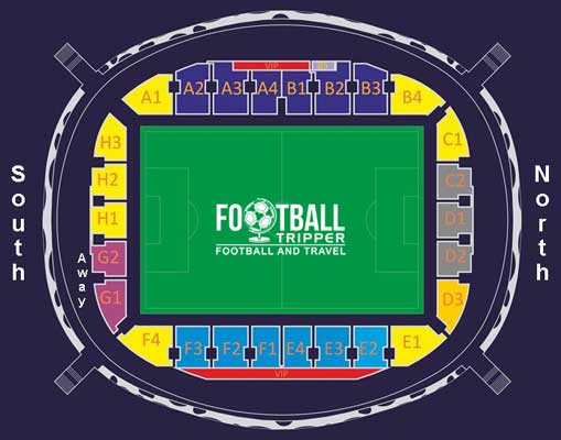 Seating plan for Borisov Arena