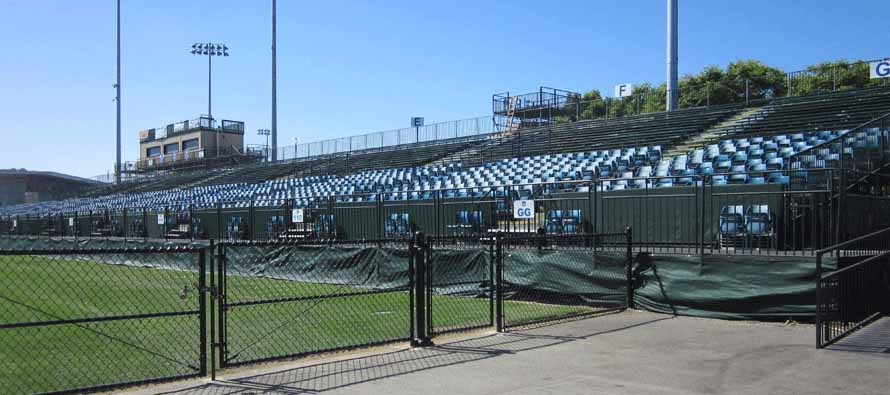 Close up of Buck Shaw Stadium stand