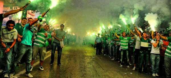 Bursaspor fans outside the stadium