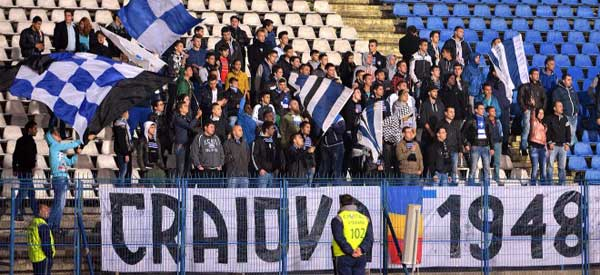 CS Universitatea Craiova supporters inside the stadium