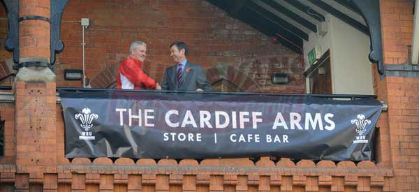 A press release photo on the opening day of The Cardiff Arms Store and Cafe Bar.