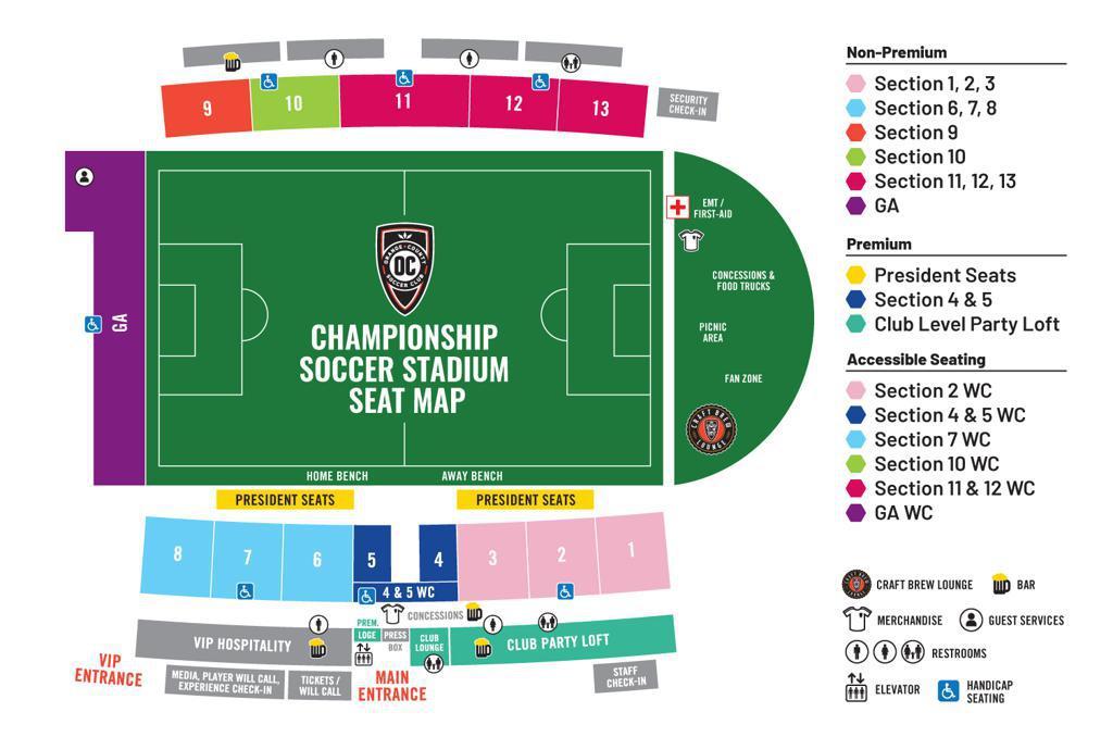 Championship Soccer Stadium Seating Plan