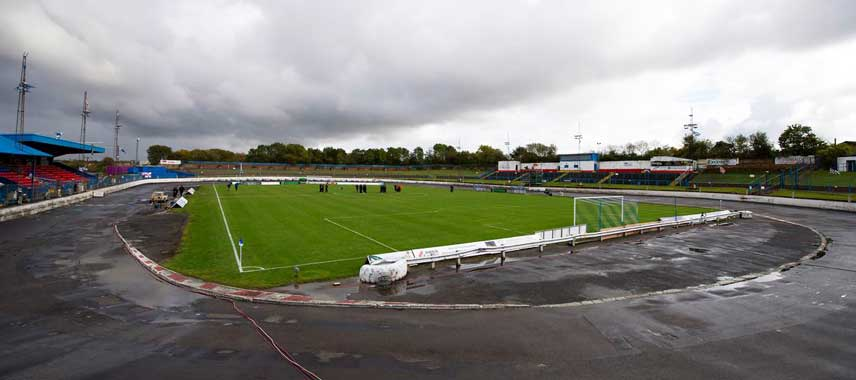 View from behind the goal at Cowdenbeath park stadium