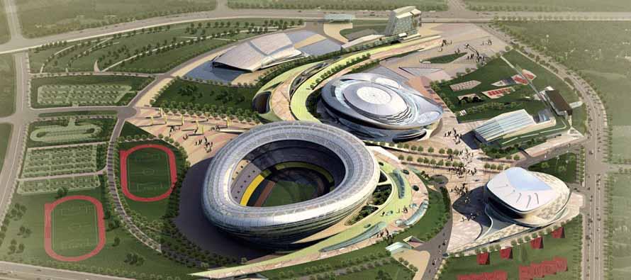 Aerial Concept Viw of Dalian Sports Center