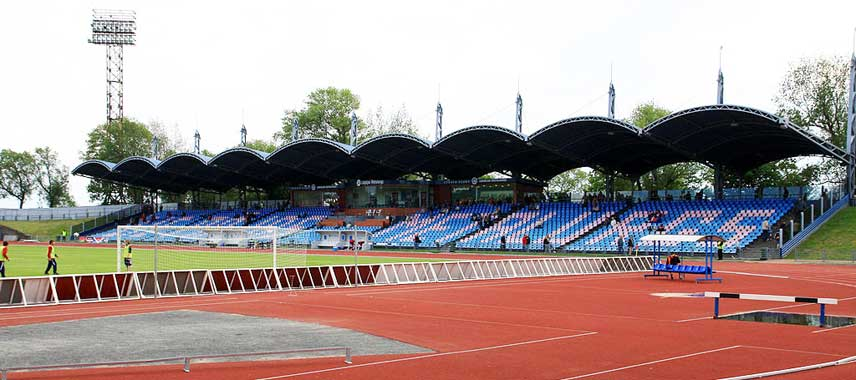 The main stand of Daugava Stadium