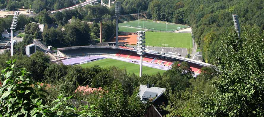 view of erzgebirgsstadion from hill