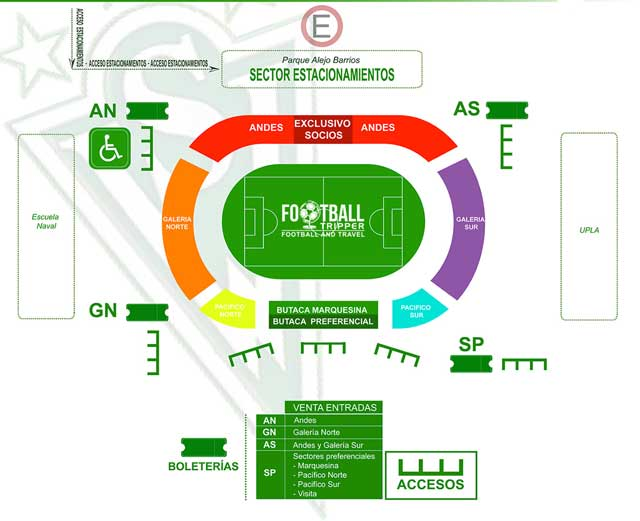 Seating Chart for Estadio Brander