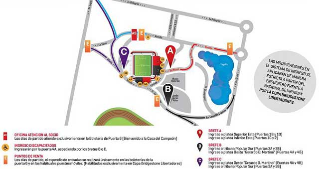 map of Estadio Marcelo Bielsa