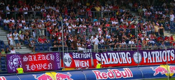 RB Salzburg fans in harmony with Red Bull.
