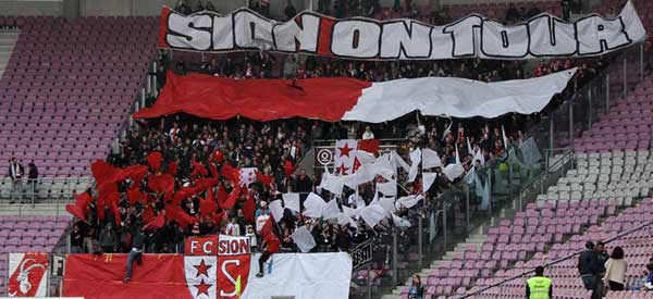 FC Sion supporters inside the stadium