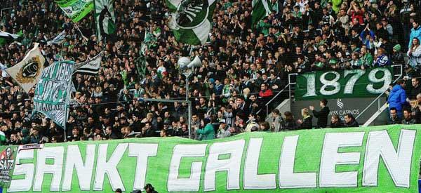 St Gallen supporters inside the stadium