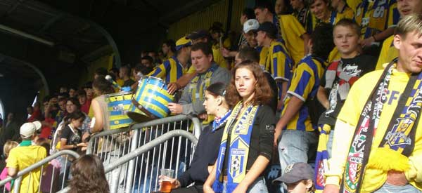 Fans of Vysocina Jihlava inside the stadium