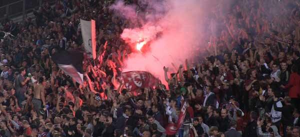 FC Metz supporters inside the stadium
