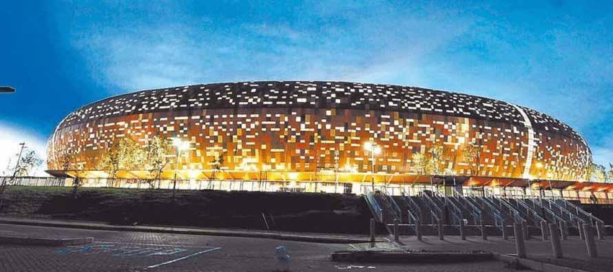 FNB Stadium lighted up at night