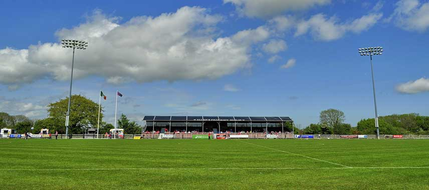 Ferrycarrig Park's main stand on a Sunny day