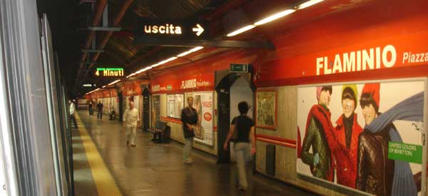 Inside Flaminio Metro Station