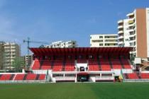 Main stand of Flamurtari Stadium