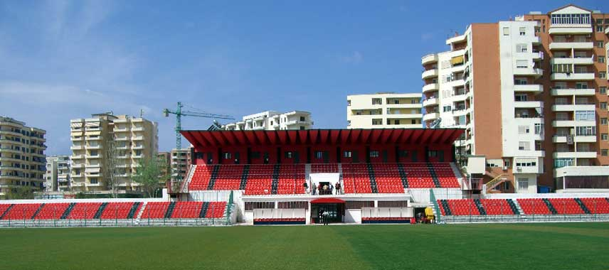 Main stand of Flamurtari Stadium