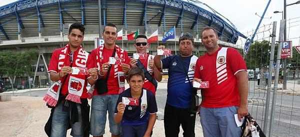 Gibraltar supporters Estsdio Algarve