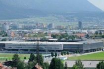 Aerial view of Tivoli Stadium and surrounding countryside