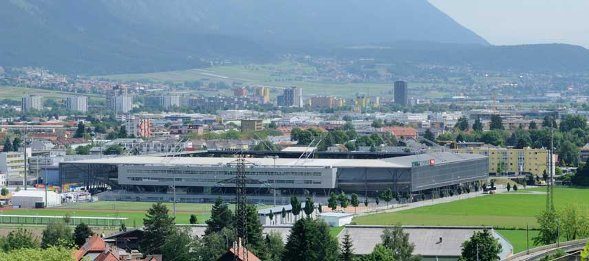 Aerial view of Tivoli Stadium and surrounding countryside