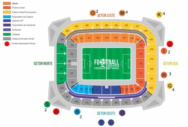 Seating chart for Itaipava Arena Pernambuco