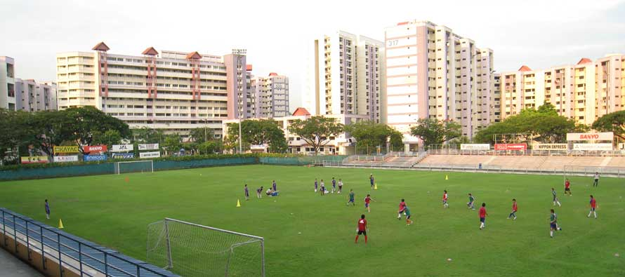 A match taking place at Jurong East Stadium