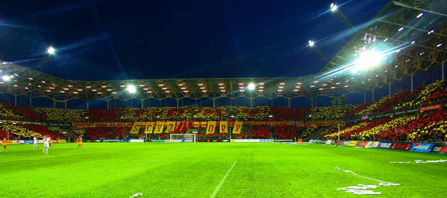 Inside Kielce Super Stadion at night