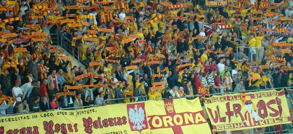 Korona Kielce supporters inside the stadium