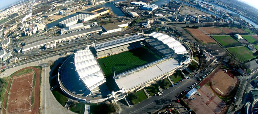 Fish eye sky view of Stade Gerland