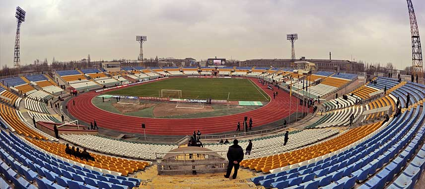 Aerial view of Luhansk Avanhard Stadium
