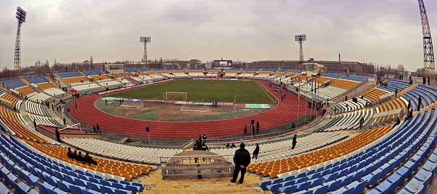 Aerial view of Luhansk Avanhard Stadium