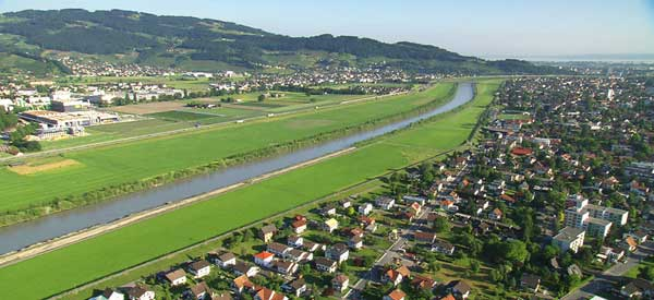 Aerial view of Lustenau town