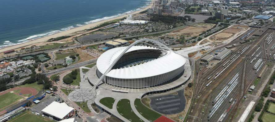 Aerial view of Moses Mabhida Stadium
