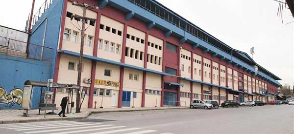 Exterior of Veria Stadium's main stand