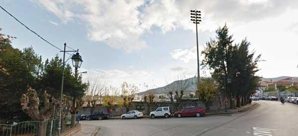 Overlooking the municipal stadium in Mytilene