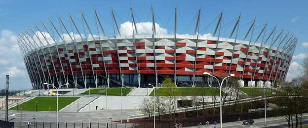Exterior of Warsaw's national stadium