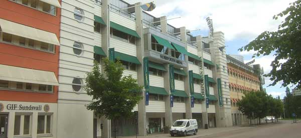 Exterior of Norrpotern Arena main stand