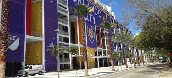 The rebranded exterior of Citrus Bowl to make Orlando City S.C feel more at home during their temporary stay.